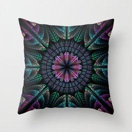 Magical dream flower, fractal abstract Throw Pillow