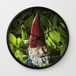 Garden Gnome among Lilies of the Valley Wall Clock