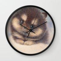 pomeranian Wall Clocks featuring Pomeranian by irshi
