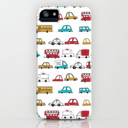 Cars trucks buses city highway transportation illustration cute kids room gifts iPhone Case