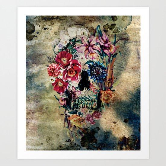 Skull on old grunge II Art Print