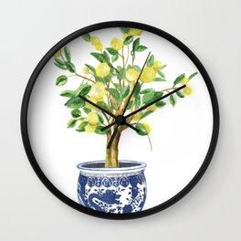 Lemon tree , watercolor painting Wall Clock