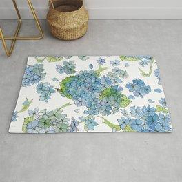 Blue Hydrangea Watercolor Rug