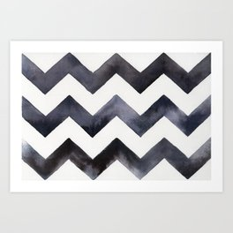 Chevrons - Black Art Print