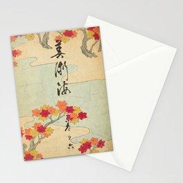 Vintage Japanese Maple Leaf and River Print Stationery Cards