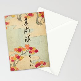 Vintage Japanese Maple Leaf and River Print Stationery Cards