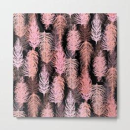 Feathered Blush Noir Metal Print