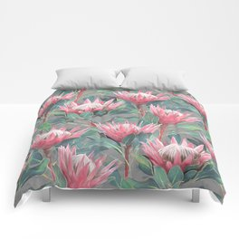 Pink Painted King Proteas on grey Comforters