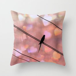 Bird on Wire Art print - Dreamy photography - Girly Pink Nature Bird Art Print Throw Pillow