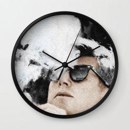 John F Kennedy Cigar and Sunglasses Wall Clock