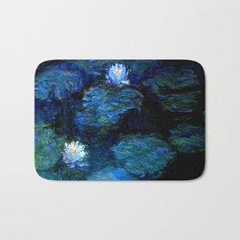 monet water lilies 1899 blue Teal Bath Mat