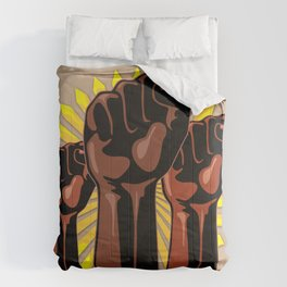 Black Power Raised Fists Comforters