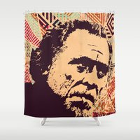 bukowski Shower Curtains featuring Bukowski by f_e_l_i_x_x