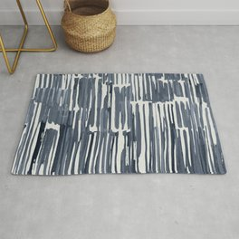 Simply Bamboo Brushstroke Indigo Blue on Lunar Gray Rug