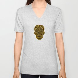 Intricate Yellow and Black Day of the Dead Sugar Skull Unisex V-Neck