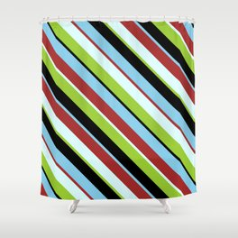 Eyecatching Green, Black, Sky Blue, Brown, and Light Cyan Colored Stripes Pattern Shower Curtain