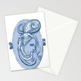Octopus/girl in blue Stationery Cards