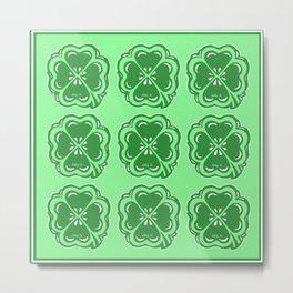 Lucky Clovers Pattern Metal Print