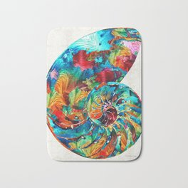 Colorful Nautilus Shell by Sharon Cummings Bath Mat