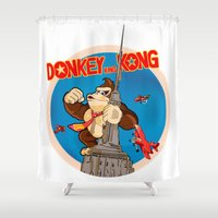donkey kong Shower Curtains featuring Donkey King Kong by Vickn