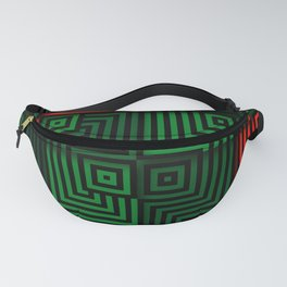 Red and green tiles with op art squares and corners Fanny Pack