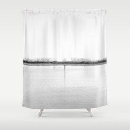 Minimal winter lake scene Shower Curtain