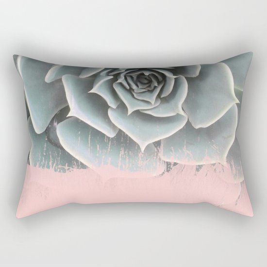 Sweet Pink Paint on Succulent Rectangular Pillow