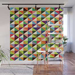 Geometric Pattern 86 (colorful mid-century triangle) Wall Mural