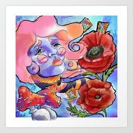 Altered - Poppies mushrooms pills Art Print