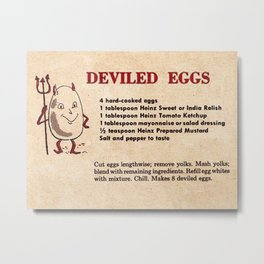 Deviled Eggs - Vintage Recipes Metal Print