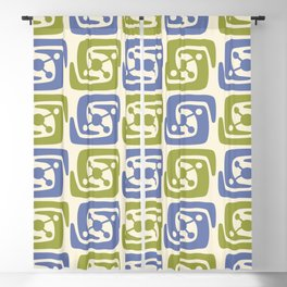 Mid Century Modern Galaxy Pattern 131 Blue and Chartreuse Blackout Curtain