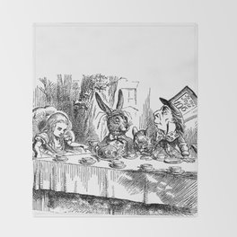 Vintage Alice in Wonderland Mad Hatter & rabbit tea party antique goth emo book gothic drawing print Throw Blanket