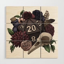 Necromancer D20 Tabletop RPG Gaming Dice Wood Wall Art