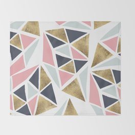 Modern geometrical pink navy blue gold triangles pattern Throw Blanket