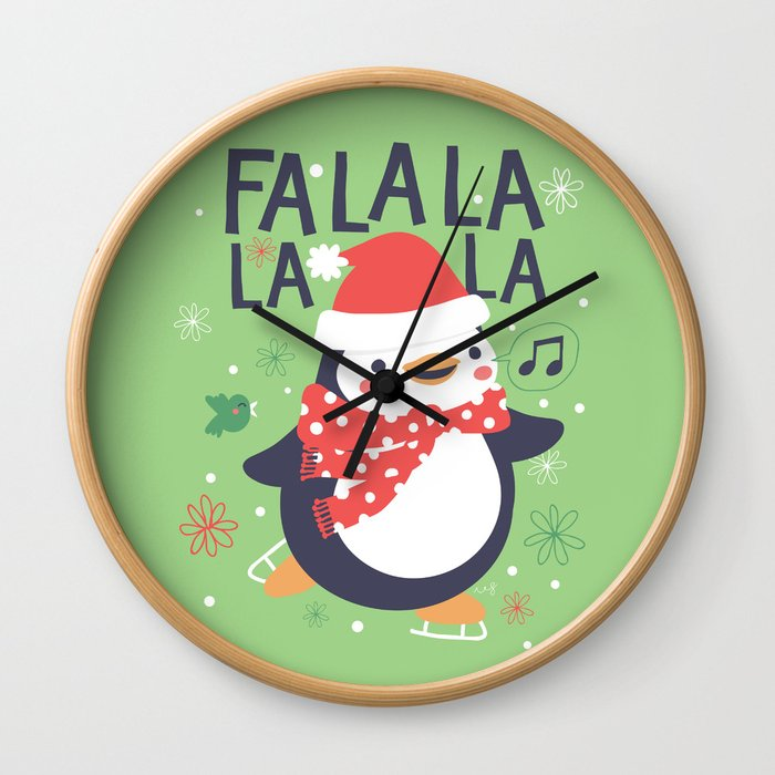Fa la la penguin Wall Clock