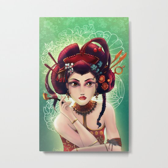 Geisha with a pipe.  Collaboration with Casey Gallant Metal Print