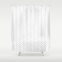 the wire Shower Curtains featuring Wire Hanger by DavidsSociety6