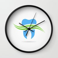 tooth Wall Clocks featuring Tooth by aleksander1