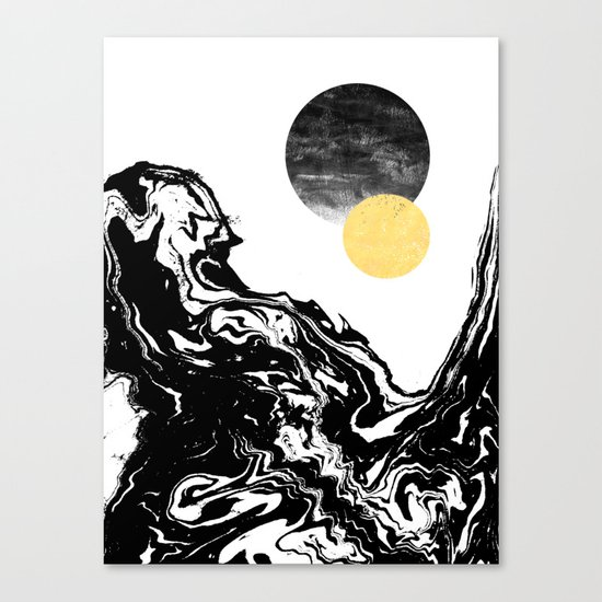 Eugenia - abstract mixed media black white gold foil sunrise sunset painting earth galaxy space sea Canvas Print
