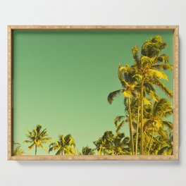 palm love in tropical green gold jewel tones Serving Tray