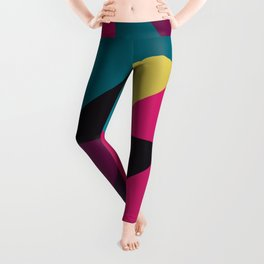 Triangle Shapes Texture, Retro Style, Purple, Turquoise, Yellow, Pink and Black Leggings