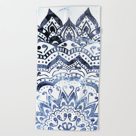 BLUE ORION JEWEL MANDALA Beach Towel