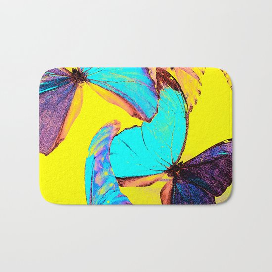 Shiny and colorful butterflies Bath Mat