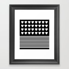 Heart Stripes White on Black Framed Art Print