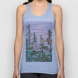 flowers and leaves on purple background, Home Decor Graphicdesign Unisex Tank Top
