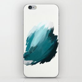 Deep Dark Aqua and White Abstract Painting Home Decor Wall Art by Jules Tillman. iPhone Skin