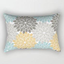 Floral Petals in Blue, Grey and Yellow Rectangular Pillow
