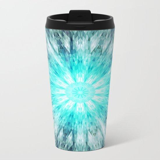 Teal Blue Mandala Metal Travel Mug