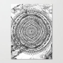 Grey Mandala Marbling Canvas Print