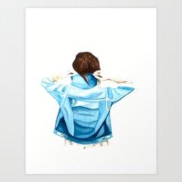 Girl with the Denim Jacket Art Print